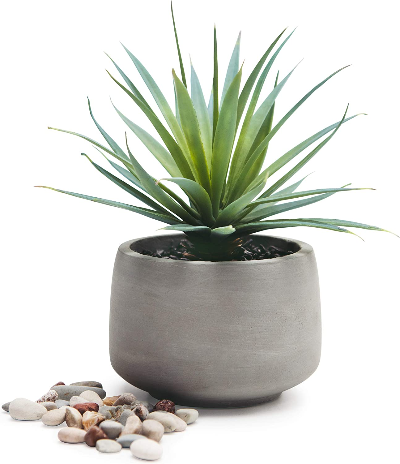 """Kurrajong Farmhouse Gorgeous Life Like 7""""x 4.5"""" Soft Pale Green Artificial Sword Grass Plant in Rustic Pot, Set in Black Pebbles, Lovely feaux Plant in Pot, Faux Plant in Pot, Potted Plant Home Decor"""