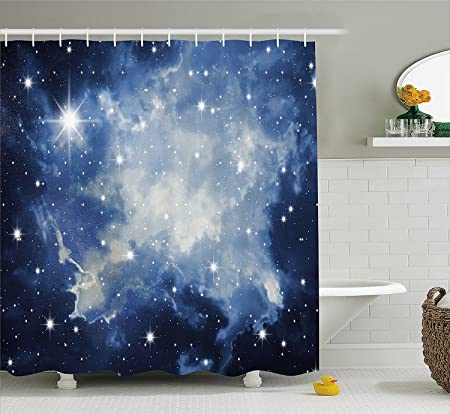 Constellation Shower Curtain By Ambesonne Blue Galaxies In Night Sky Celestial Image Stars Fog Magical