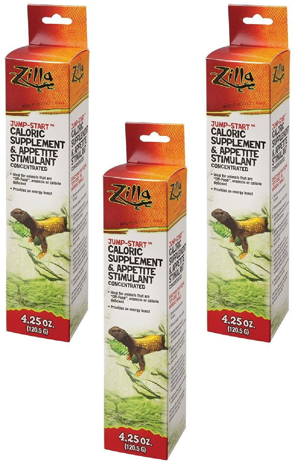 (3 Pack) Zilla Reptile Health Supplies Jump-Start Appetite Stimulant, 4.25 Ounce each