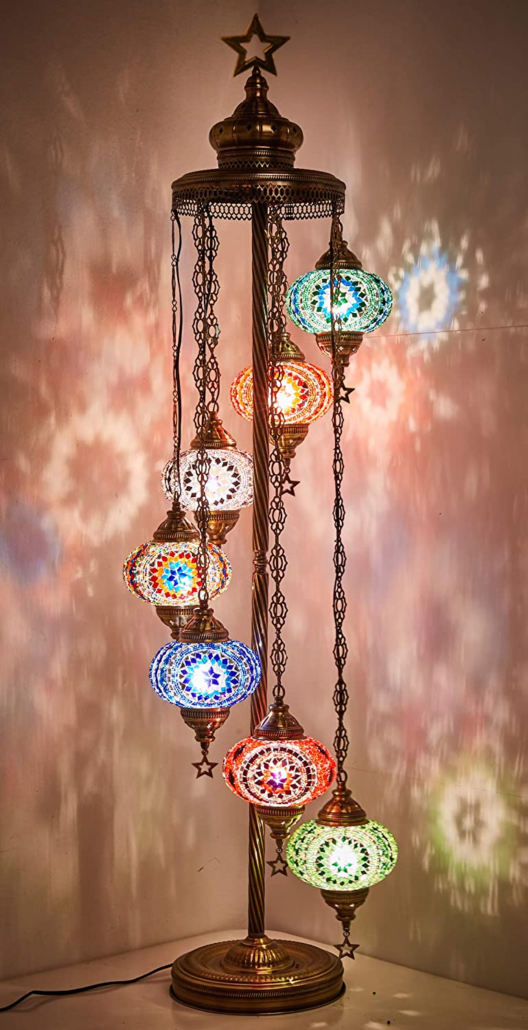 DEMMEX Turkish Moroccan Mosaic Floor Lamp for US with US Plug 7 X 6.5 Globes