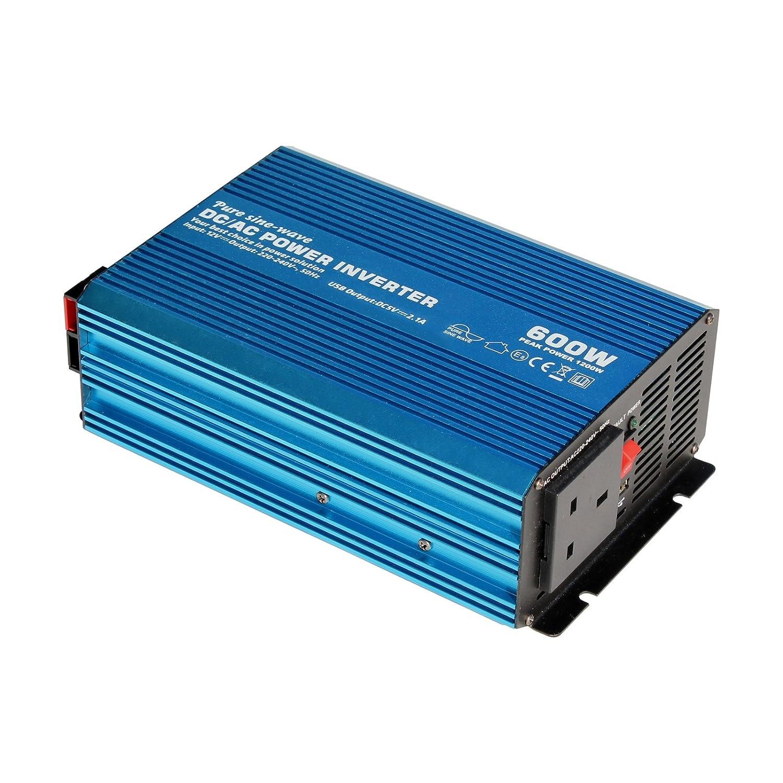 600 W 12 V Pure Sine Wave Inverter 230 V AC uscita (presa EU), potente con porta USB –  per qualsiasi veicolo, barca o Stationary off-grid Power applicazione (600 Watt 12 Volt) Photonic Universe IPC-600