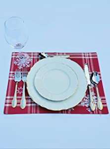Kovot Set of (8) Placemats   Winter Table Decor with Foil Accents   Winter Snowflake Place Mats