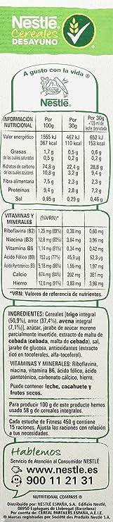 Cereales Nestlé Fitness Original - Copos de trigo integral, arroz y avena integral tostados - 12 paquetes de cereales de 450g: Amazon.es: Alimentación y ...
