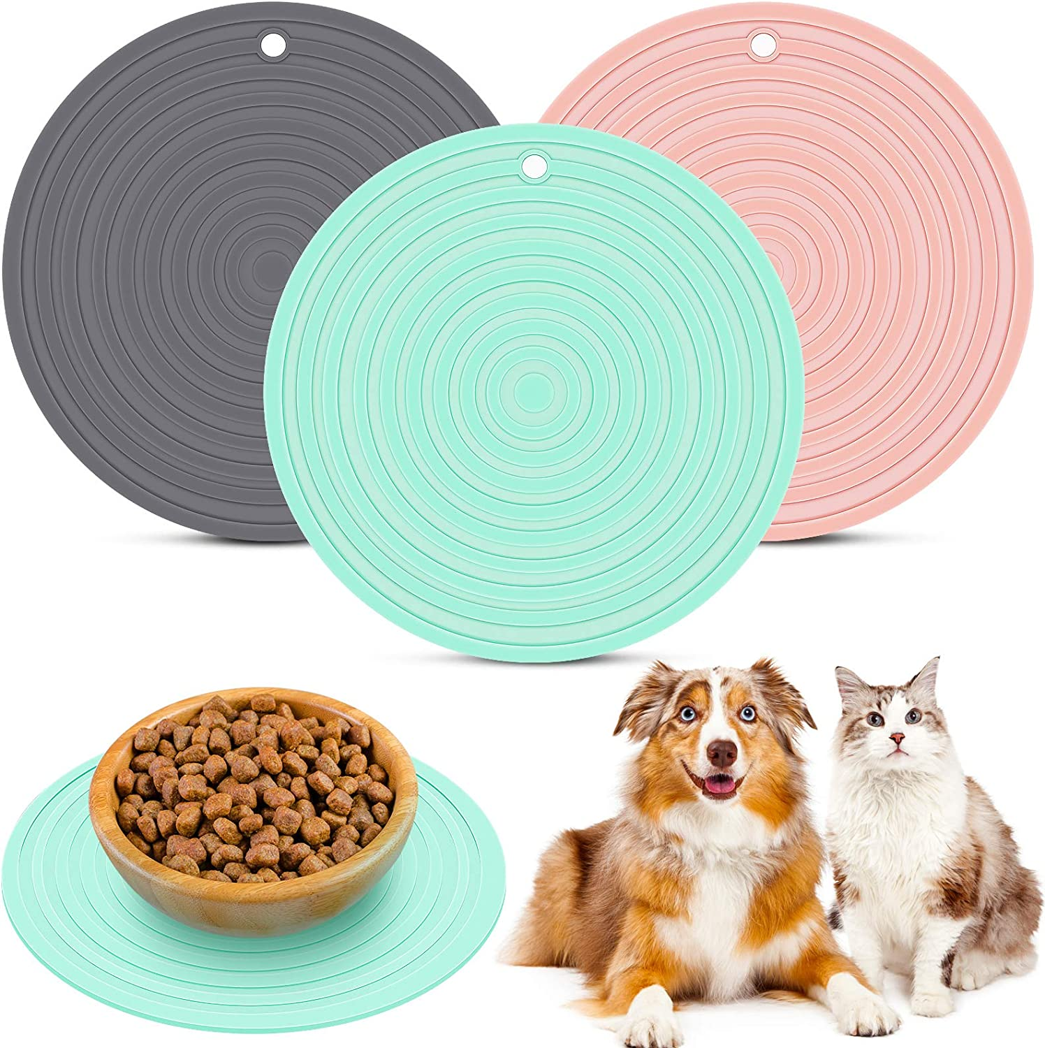 3 Pieces Silicone Pet Food Mat Pet Feeding Mat for Dog and Cat Food Bowl Place-mat Preventing Food and Water Overflow Suitable for Medium and Small Pet, Green, Pink and Gray, 9.5 x 9.5 Inches