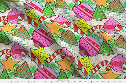 spoonflower christmas fabric pop art christmas cookies large by bloomingwyldeiris printed on fleece fabric by the