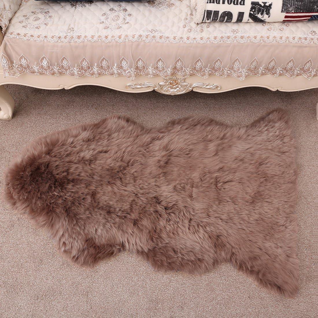 WYR Natural Genuine Sheepskin Rug Australian One Pelt 2 x3.5 Fur Rug Carpet Pad Blanket,Coffee