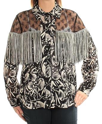 Amazon Com Anna Sui Womens Lace Yoke Button Up Shirt Black L Clothing