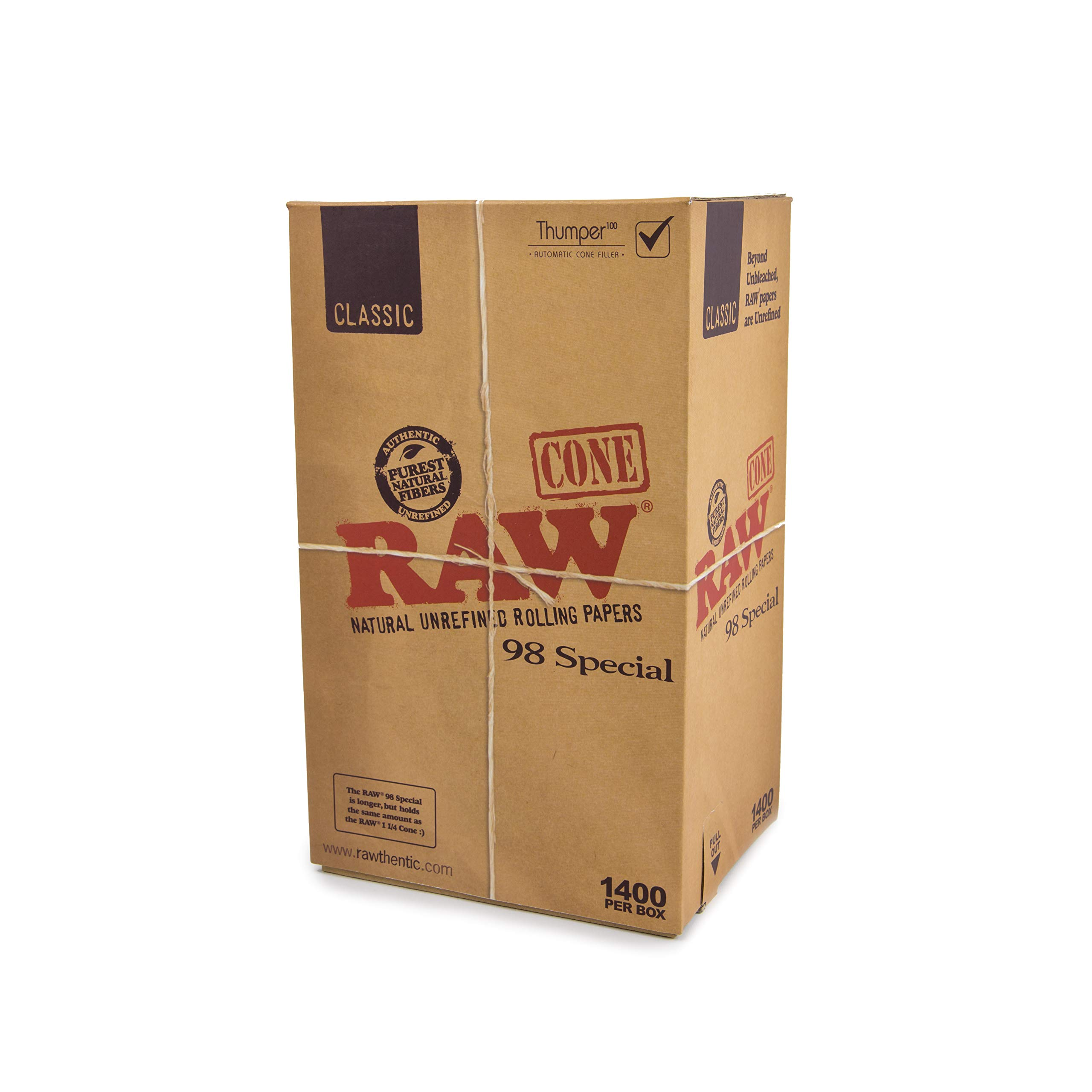 RAW Classic Natural Unrefined Rolling Papers - Pre Rolled Cones - 98 Special Size - 1400 Cones Per Box by RAW
