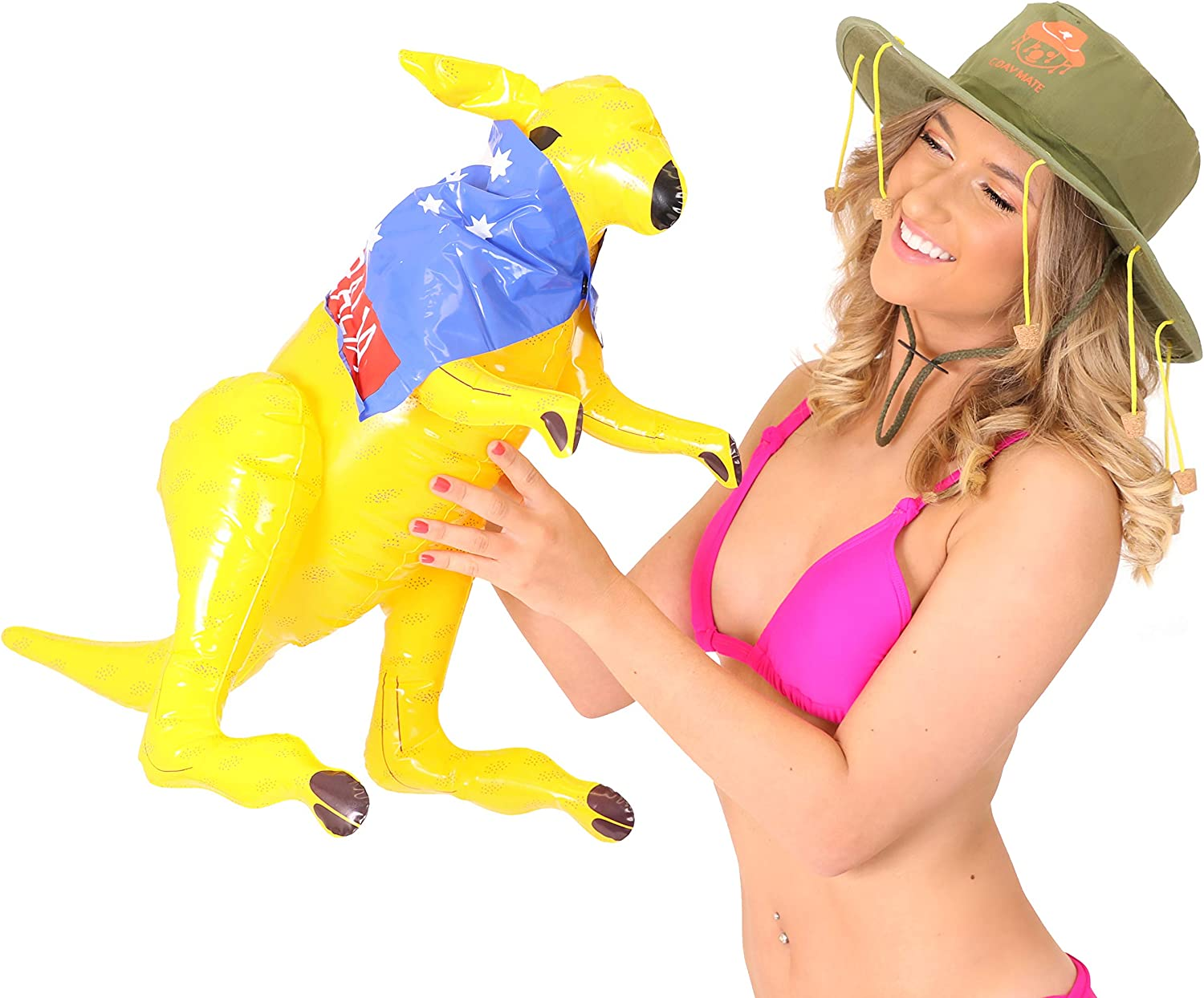 Inflatable 70cm Kangaro with Australian Flag Cape Party Decoration BlowUp Animal