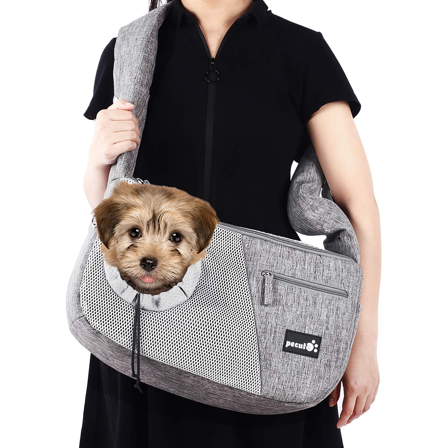 Pecute Pet Carrier Small Cat Dog Sling Carrier with Breathable Window Hand Free Sling Adjustable Padded Strap Tote Bag Shoulder Bag for Outdoor Travel Subway