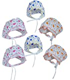 PEUBUD ® Soft Cotton New born babies Printed Bonnets Caps/Topi/Hats 0-3 months (Pack of 6) (WHITE)
