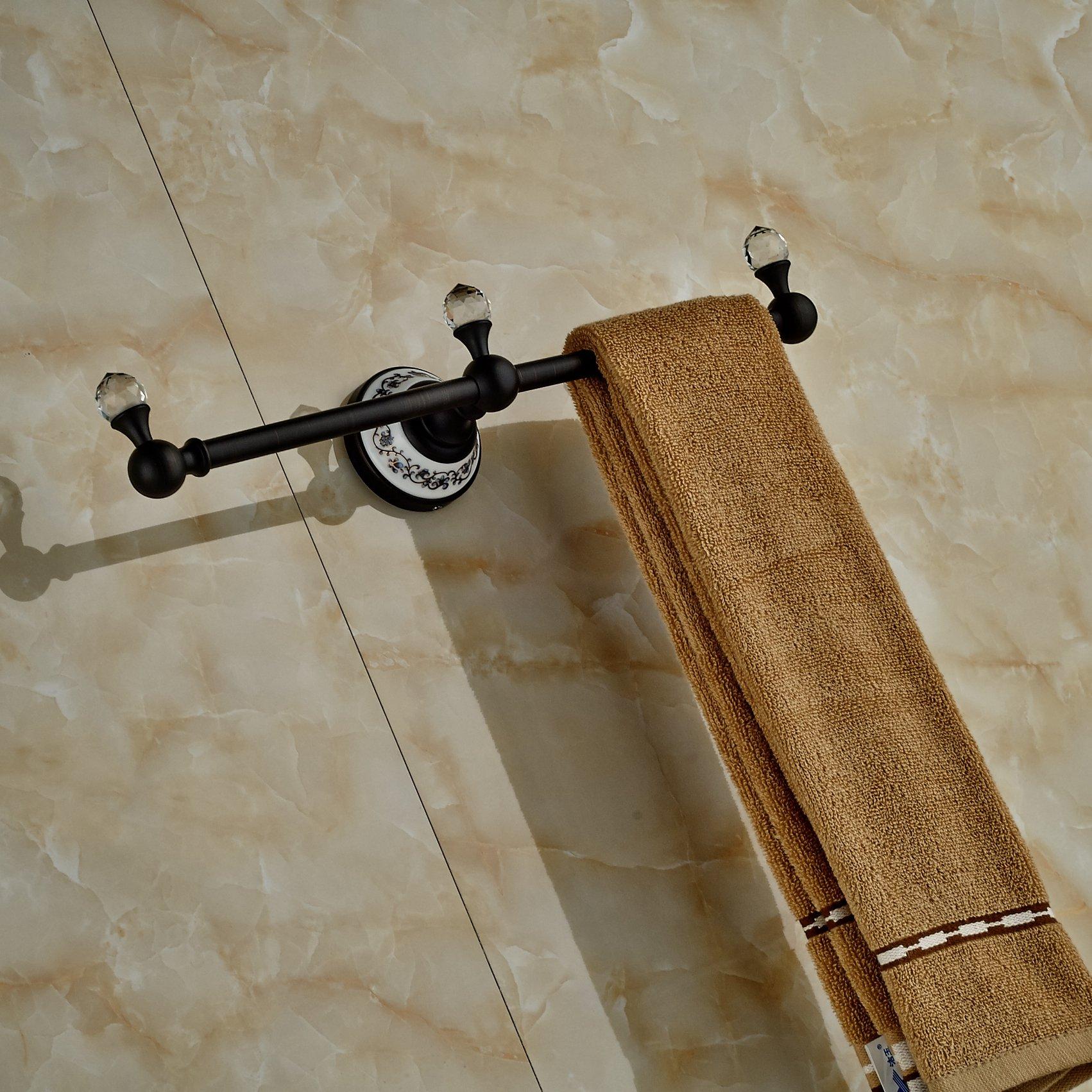 Luxury Crystal Deco Bath Towel Bar Wall Mounted Towel Rac Hanger (Oil Rubbed Bronze) by Rozin (Image #8)