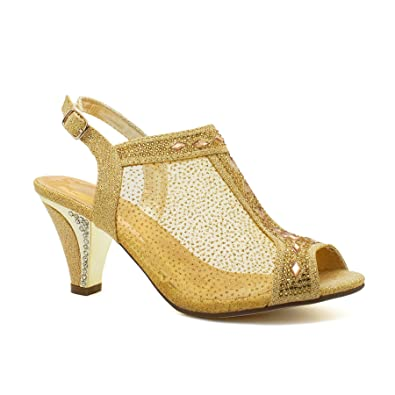 abc80e1ffc6 Womens Ladies Diamante Mid Heel Glitter Evening Shoes Wedding Party Prom  Sandals  Amazon.co.uk  Shoes   Bags