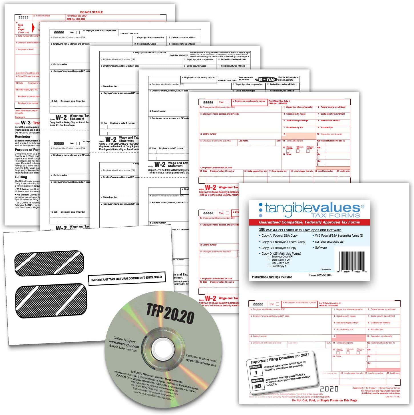 W2 Tax Forms 2020 - Tangible Values 4-Part, 25 Pack Laser Tax Form Kit with Envelopes - Includes TFP Software