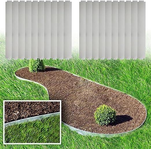 MCTECH® 5 bordes para delimitar el césped, de metal, galvanizado, para delimitar plantaciones, 14 cm de altura, 100 cm de longitud: Amazon.es: Jardín