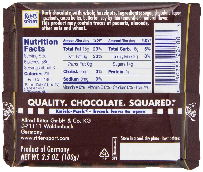 Amazon.com : Ritter Sport, Dark Chocolate with Whole Hazelnuts ...