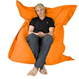 Hi-BagZ - Puff gigante tipo tumbona para exteriores (4 posiciones, impermeable) Naranja