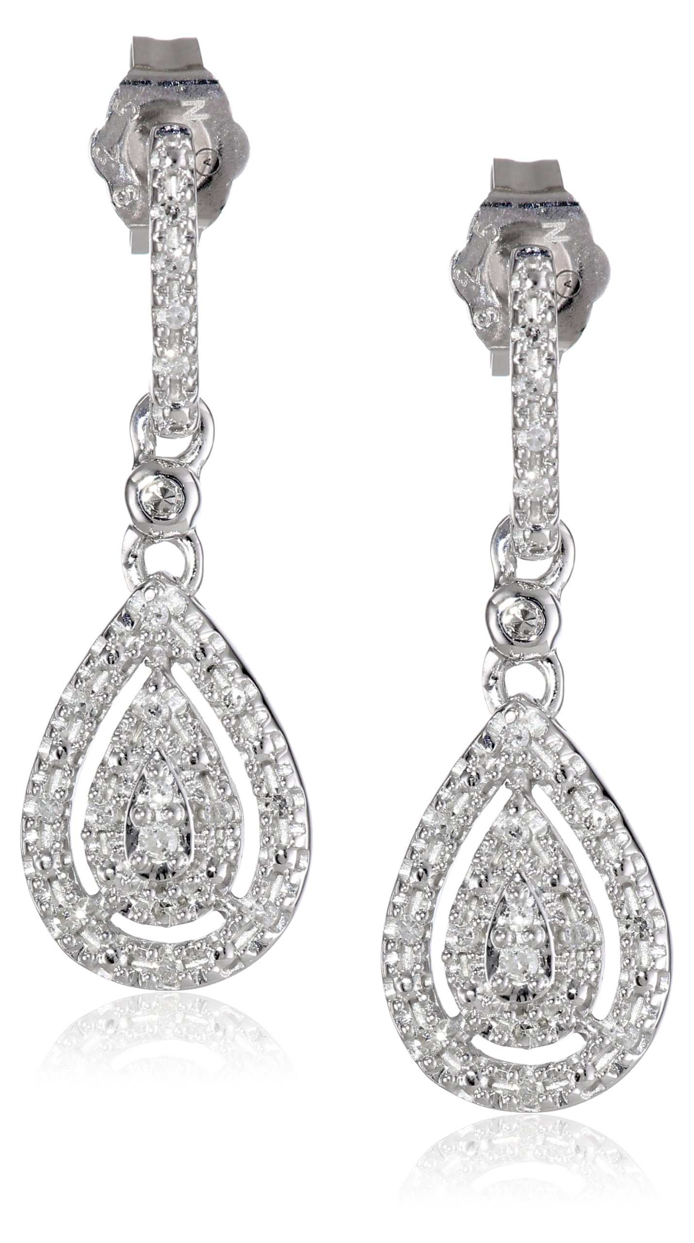Sterling Silver and Diamond Drop Earrings (0.14 cttw, I-J Color, I2-I3 Clarity)