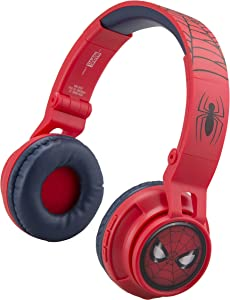 Kids Bluetooth Headphones for Kids Spiderman Far from Home Wireless Rechargeable Foldable Bluetooth Headphones with Microphone Kid Friendly Sound and Bonus Detachable Cord