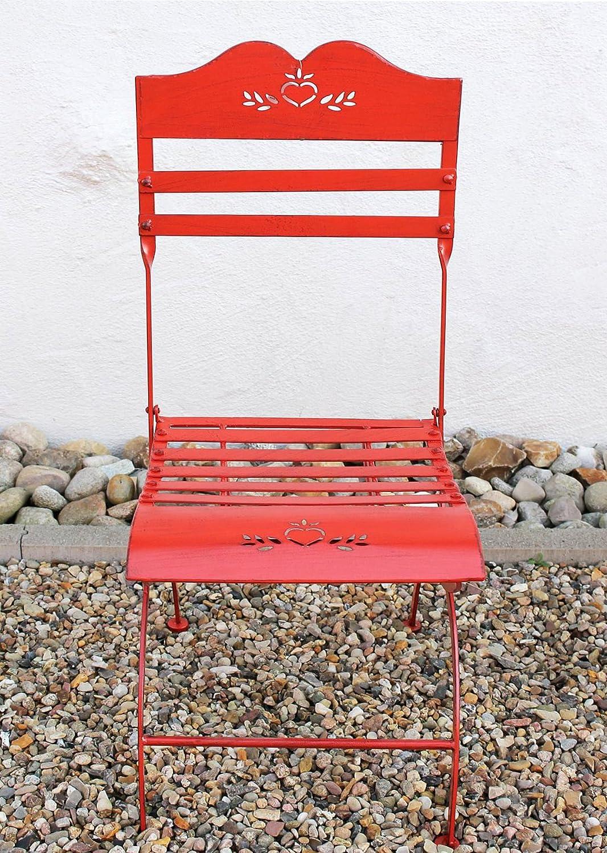 Sedia Passion 18621 Sedia giardino in metallo rosso Panca fiori Sgabello fiori