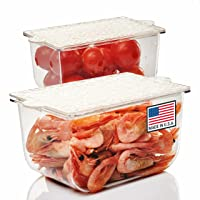 PIKANTY Condiments Storage Small Containers with Lids for Refrigerator   Set of 2   Made in USA