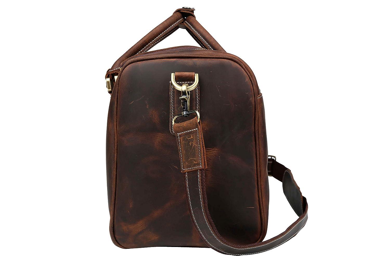 Huntvp Mens Leather Travel Duffel Bag Overnight Shoulder Carry On Weekend Luggage
