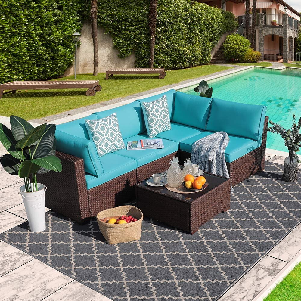 Outdoor Rattan Sofa Set Couch 5pcs Wicker Patio Furniture Set Garden Conversation Set, Brown Turquoise Cushion