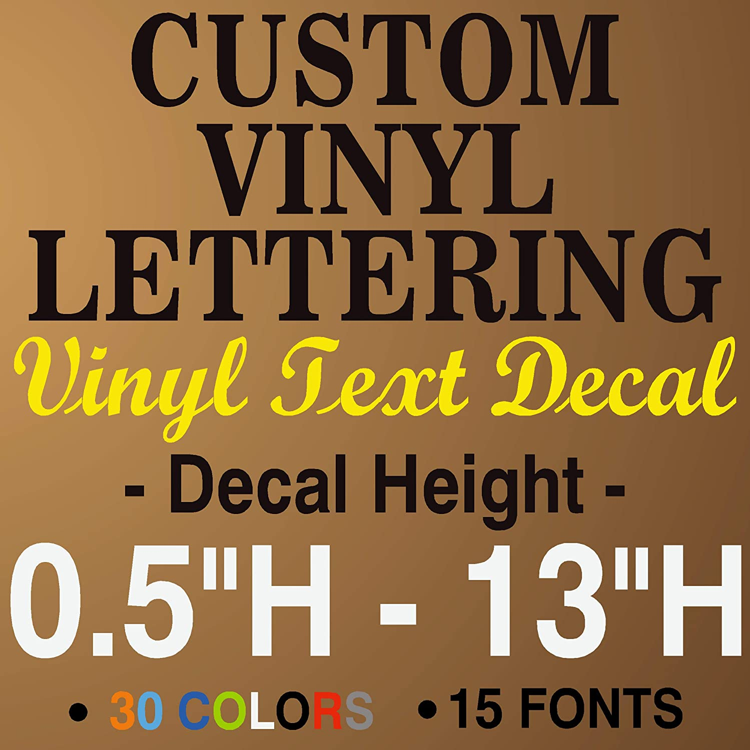 JBY Graphics Custom Vinyl Lettering Decal Personalized Sticker Window Text City Name Car Vehicle Boat Business Store Window Door Vinyl Sign