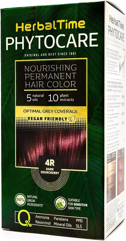 Phytocare Tinte permanente y nutritivo para cabello sin amoniaco, sin PPD, sin SLS, sin parabenos Color Guinda 4R