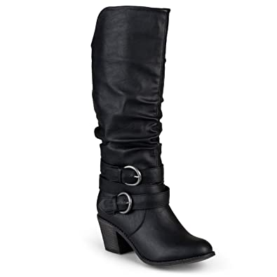 f83b3b9c8ccc Journee Collection Women s Buckle Slouch High Heel Boots Black