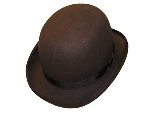 956e961bd Wool Hand Made Quality Round Top Hard Bowler Hat in Brown with Satin Lining