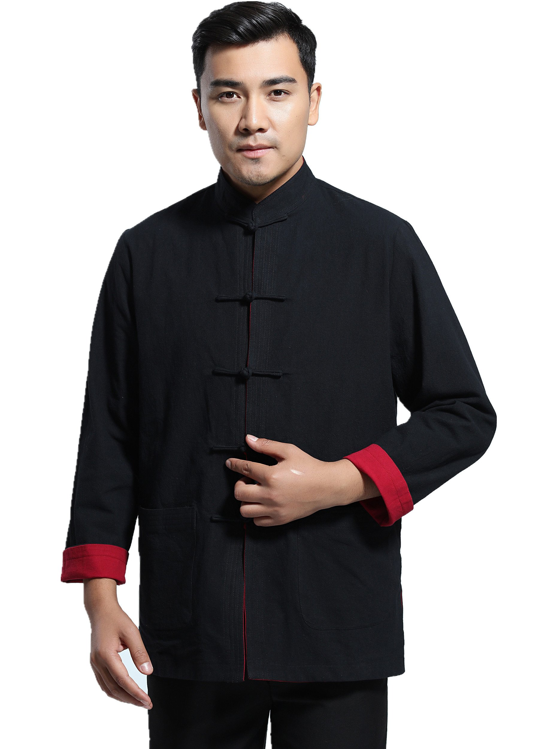 Shanghai Story Linen Men's Chinese Shirt Chinese Style Reversible Jacket M Blk