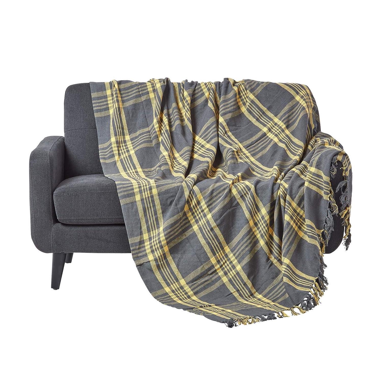 Homescapesラージグレイ&イエロータータン90 x 100インチまたは228 cm x 254 cm、綿100%ソファーで3人乗りの大人数用のソテやソファーを投げる   B00JLF7BC0