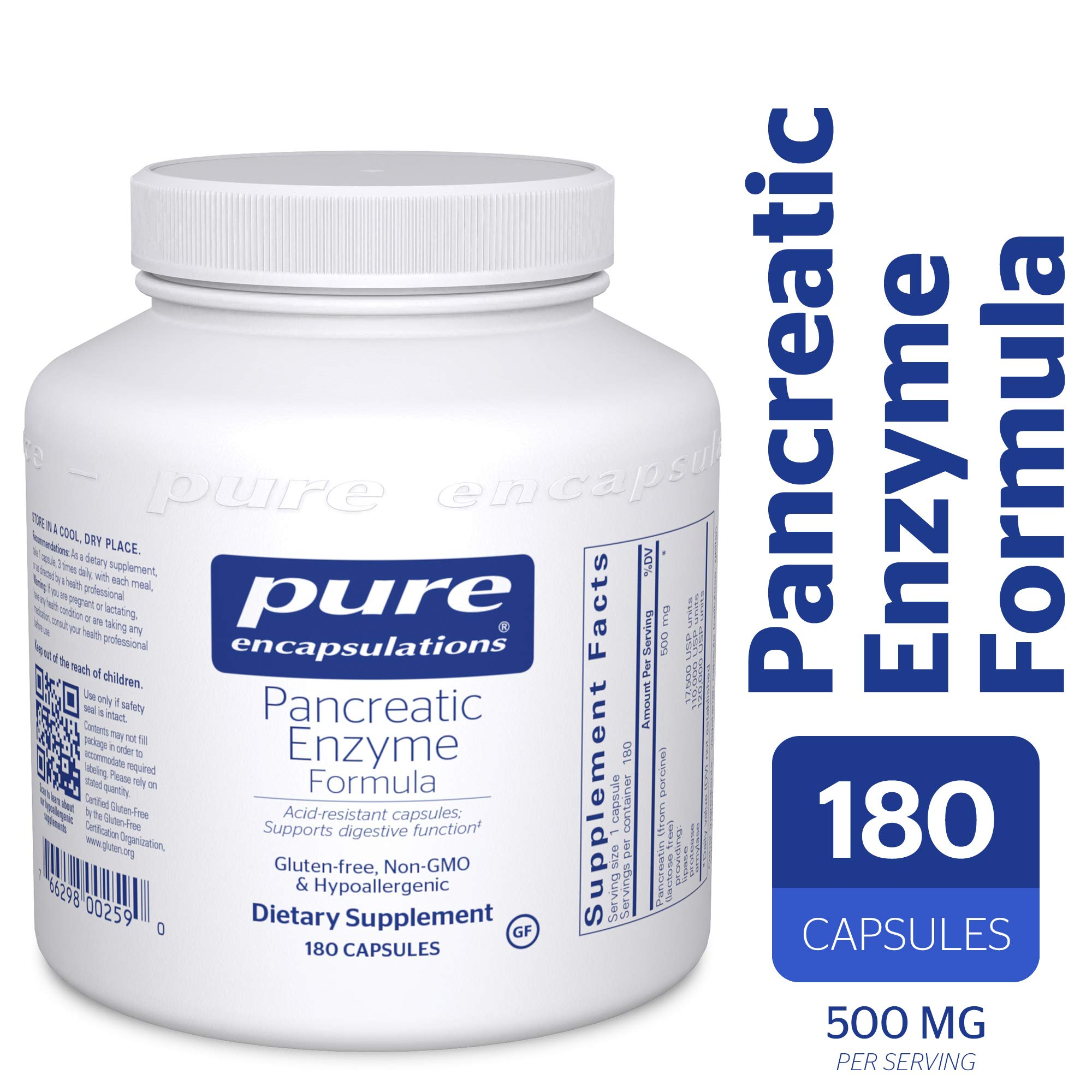 Pure Encapsulations - Pancreatic Enzyme Formula - Hypoallergenic Supplement to Support Proper Digestive Function* - 180 Capsules by Pure Encapsulations
