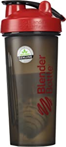 BlenderBottle Full Color Bottles - New Black Translucent Color with Shaker Ball - Red - 28oz