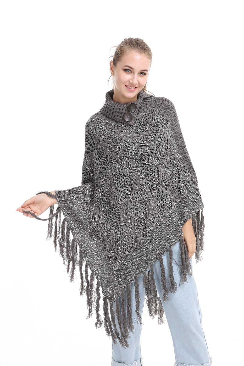 Leoparts Women Warm Turtleneck Crochet Tassel Batwing Poncho Sweater Cloak Shawl
