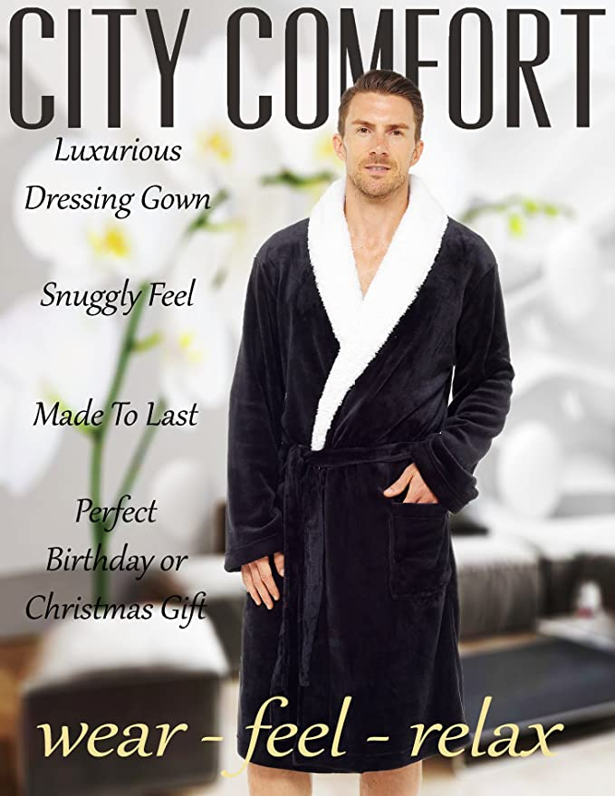 6f9f4f96db Mens Dressing Gown Luxury Super Soft Mens Fleece Robe with Hood Gowns  Bathrobe Warm and Cozy...  Amazon.co.uk  Clothing