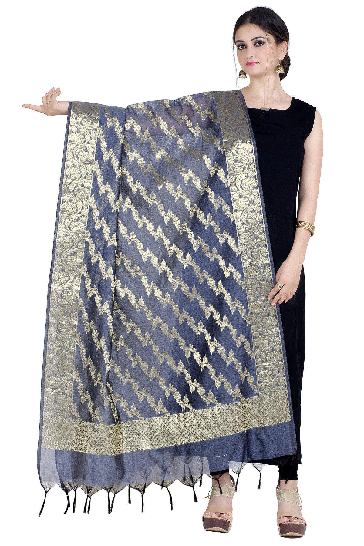 Chandrakala Women's Handwoven Zari Work Banarasi Dupatta Stole Scarf (Gray)