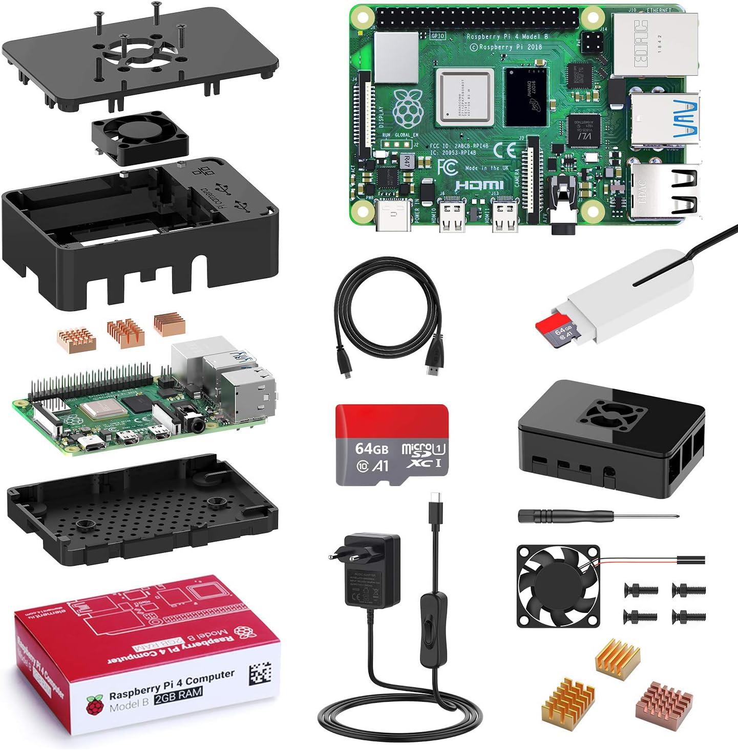 Bqeel Raspberry Pi 4 Modèle B(4 B), 2Go Starter Kit Upgraded for...