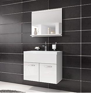 Badezimmer Badmöbel Toledo 02 60 cm Waschbecken Hochglanz Weiß ...