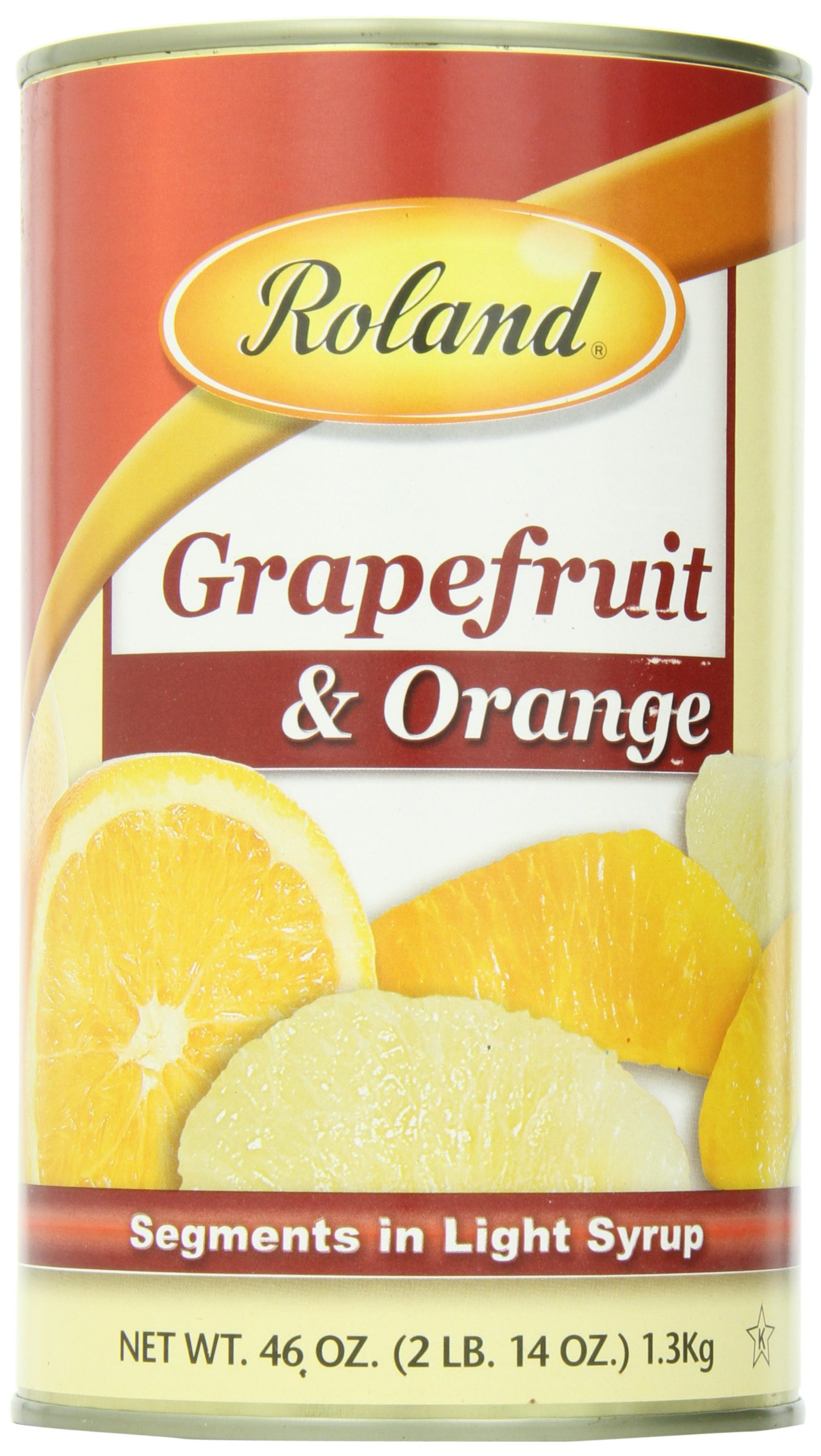 Roland Grapefruit & Orange,Segments in Light Syrup, 46 Ounce (Pack of 3)