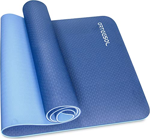 arteesol Yoga Mat, Non-Slip Exercise Mat Pollutant-Free TPE Material Fitness Workout Mat with Carrying Strap for Yoga Pilates Exercises Gymnastics -183 x 61 x 0.6 cm-10 Colors