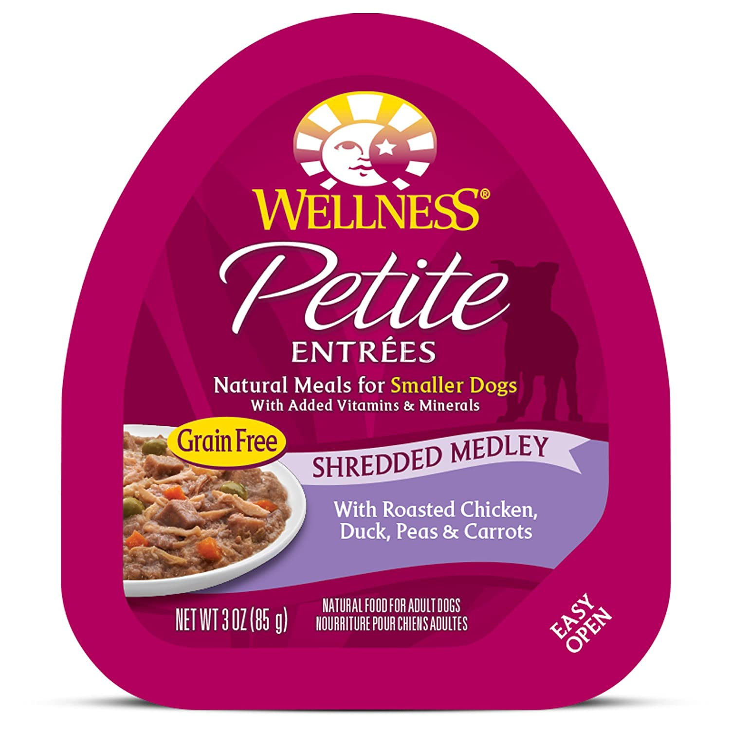 Wellness Petite Entrees Natural Grain Free Wet Small Breed Dog Food, 3-Ounce Cup Pack Of 24 Shredded Medley Chicken Duck