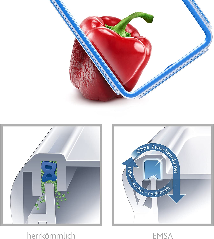 Fassungsverm/ögen 0,25 L EMSA 508535 Clip /& Close 2.0 Frischhaltedose quadratisch