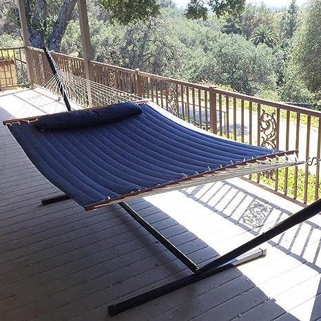 Vansaile Hammock Outdoor Quilted Cotton Fabric Beach Rope Hammocks Patio  Hammock Bed Swing Bed Back Yard