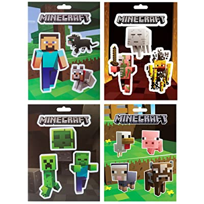 JINX Minecraft Sticker Party Pack (Steve Pets, Baby Animals, Mob Nether, Mob Caves), 17 Stickers: Toys & Games