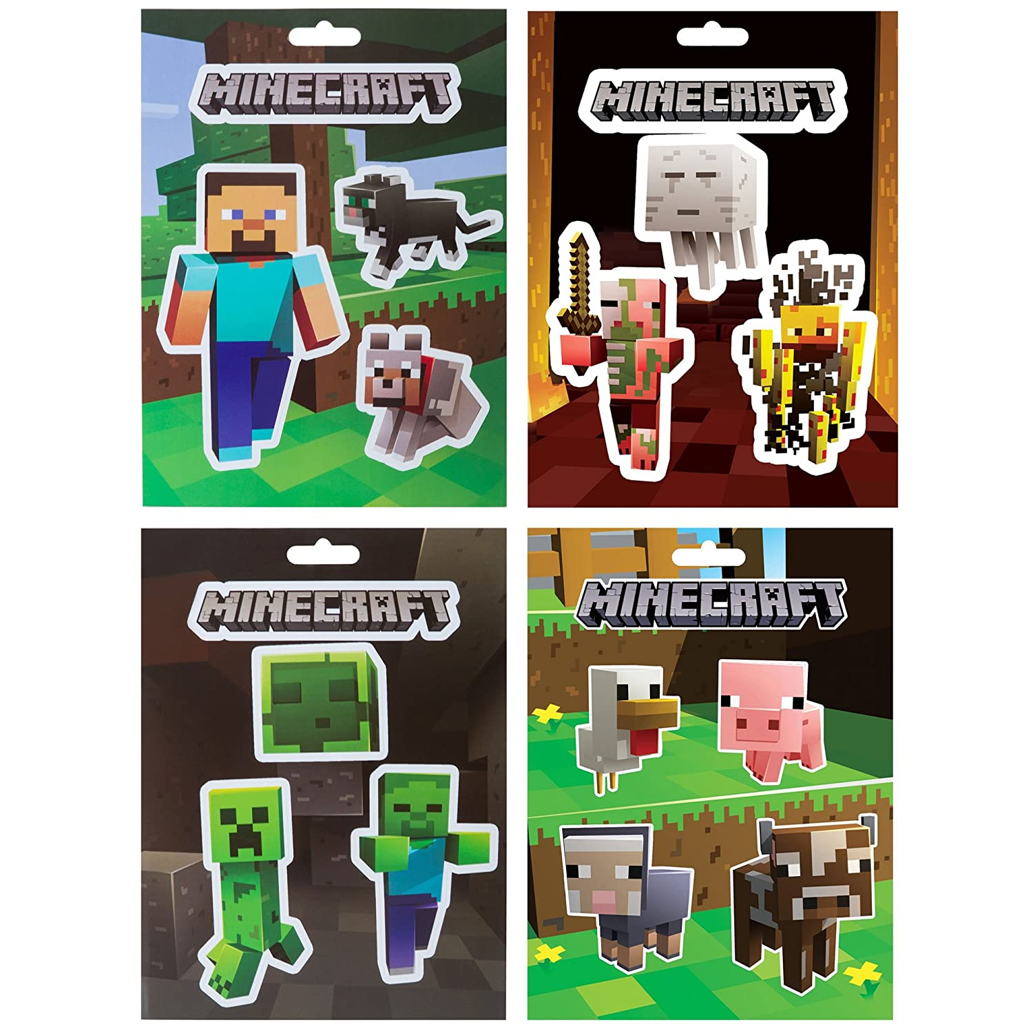 JINX Minecraft Sticker Party Pack Steve Pets Baby Animals Mob Nether Mob Caves 17 Stickers
