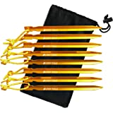 Tent Tools - Unique Propeller Premium Tent Stakes & Bag - 0.5 oz - Reflective Rope - 100% Lifetime (Orange, 10 Stakes)