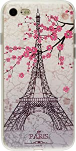 GreatQIQI iPhone 7 Case iPhone 8 Case, Paris Tower Embossed Pattern Flexible TPU Gel Silicone Protective Cover Case for iPhone 7 iPhone 8 4.7 inch