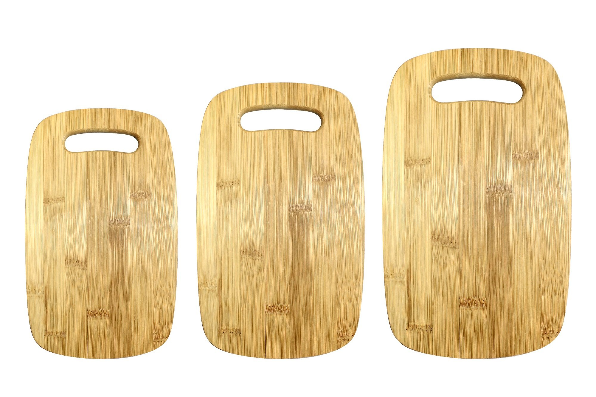 Gourmet Home Products Bamboo Cutting Board Set with Cut Out Handles (3 Pack), Natural